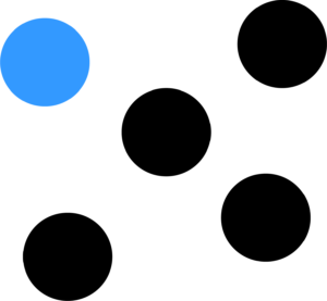 Five dots with one blue, to showcase 1 in 5 people have long term illness, impairment, or disability